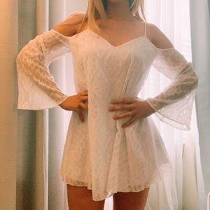 Guess White Mesh Mini Bell Sleeve Dress